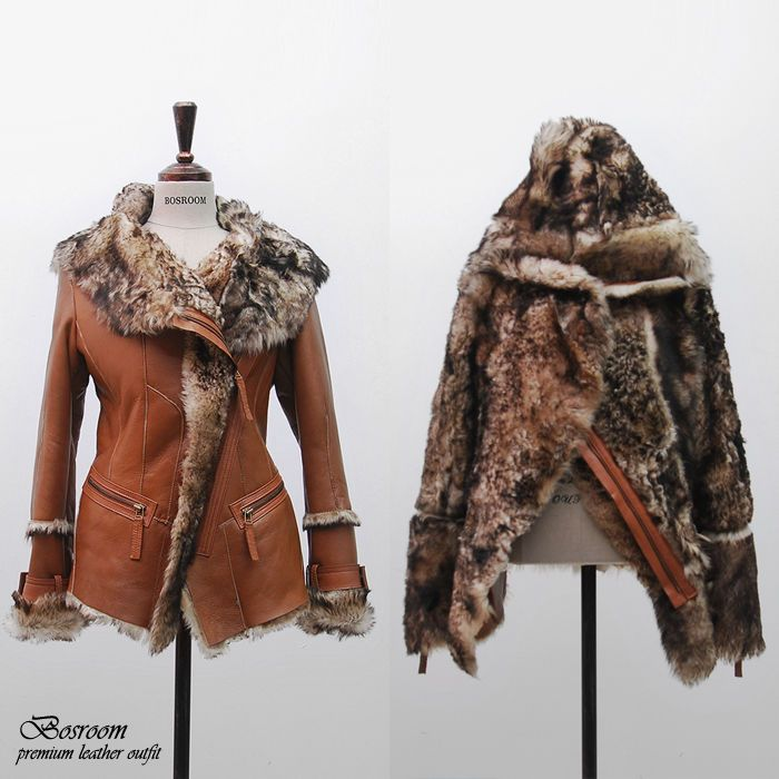 NWT Womens Genuine shearling fur jacket leather coat with hoodie outer Camel S #Bosroom #shearlingfurjacket