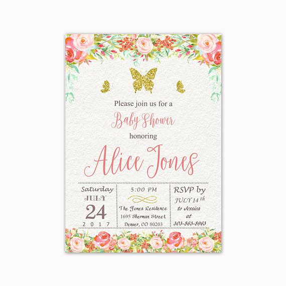 Butterfly Baby Shower Invitation Boho Floral Baby Shower
