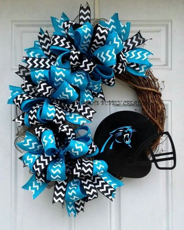 Carolina Panthers... this wreath is beautiful!