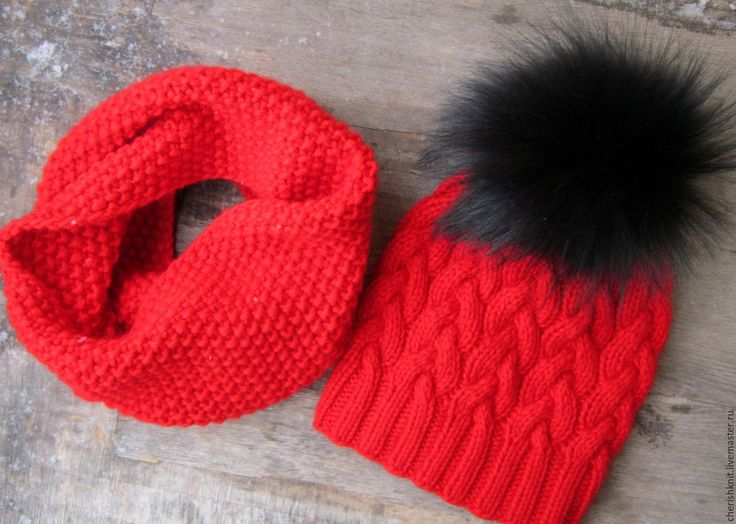 Купить Комплект шапка и снуд вязаный красный косы - ярко-красный, орнамент, комплект вязаный