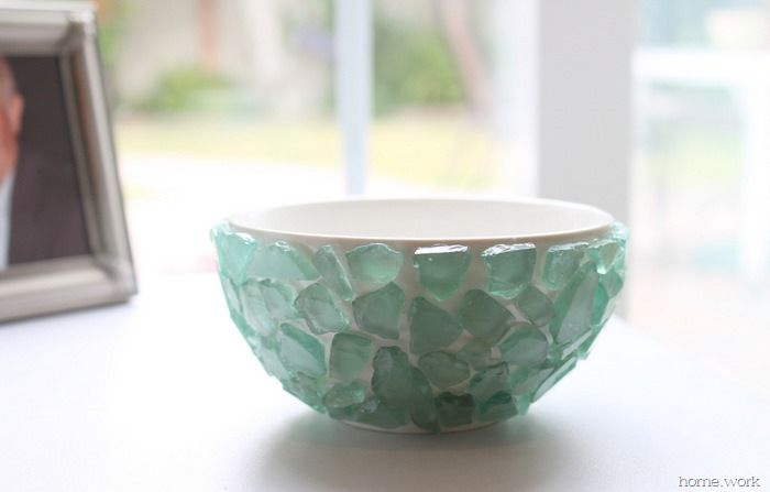 Sea Glass DIY Bowl - beachy coastal décor piece and this one is a quick and easy
