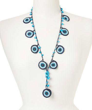 Look what I found on #zulily! Navy & Turquoise Evil Eye Necklace #zulilyfinds