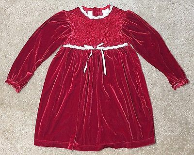 Smocked Christmas Dress Kid Girl 6 Youngland Red Velour Lace Holiday Velvet
