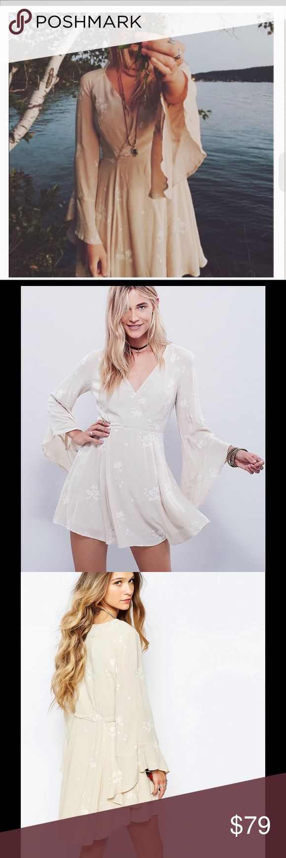 """✨ NEW NWT FREE PEOPLE Jasmine embroidered dress 2 BRAND NEW with tags! Size 2 pretty TTS! An airy Free People mini dress with a flared skirt. Ruffle cuffs and floral embroidery accentuate the romantic feel. Crossover V neckline. Long sleeves. Lined. color is Almond Creme beige Fabric: Gauze. Shell: 100% rayon. Lining: 65% rayon/35% cotton. Hand wash or dry clean. Imported, India. Length: 33in"""" Free People Dresses Mini"""