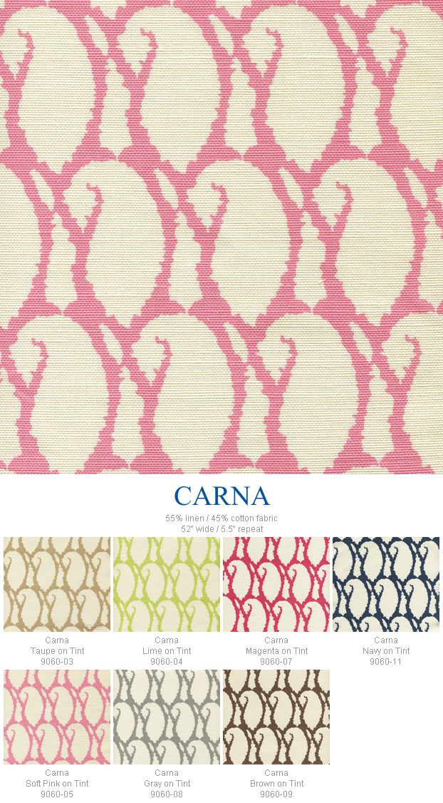 Love the Magenta on tint in the Carna group from Quadrille's China Seas Collection.