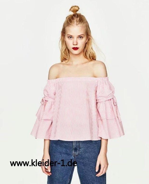 Damen Bluse Schulterfrei mit 3/4 Arm in Rosa