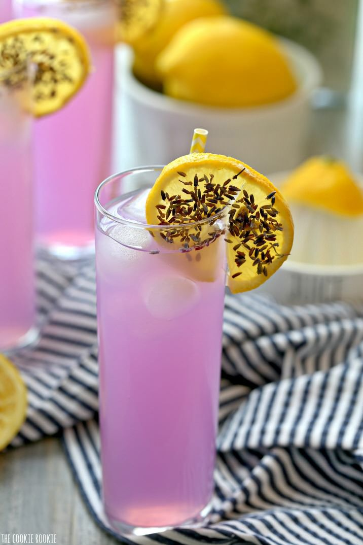 Add lavender to sweet lemonade for a decadent drink that's as beautiful as it is flavorful.  Get the recipe at The Cookie Rookie.   - CountryLiving.com