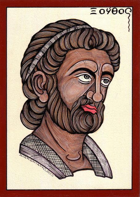 ΞΟΥΘΟΣ....ήταν γιος του `Ελληνος και της Νύμφης Ορσηίδας, αδελφός του Αιόλου (του γενάρχη των Αιολέων) και, σύμφωνα με την επικρατούσα εκδοχή, του Δώρου. Ο Ξούθος πήρε ως σύζυγό του την Κρέουσα την Αθηναία, τη θυγατέρα του Ερεχθέως και της Πραξιθέας, καθώς ο Ξούθος διαδέχθηκε τον Ερεχθέα στη βασιλεία των Αθηνών.....