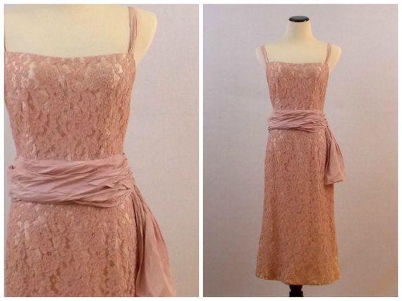 50s Blush Lace Dress - Pink Lace Cocktail Dress - Vintage 1950s Norman Original Lace Dress