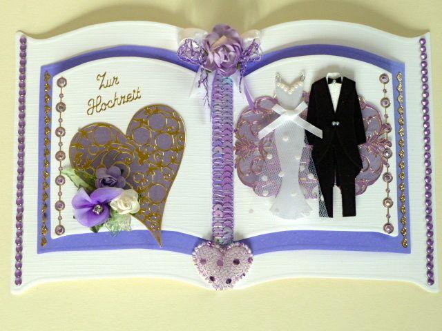 3D Buchkarte Hochzeit Nr. 325 von *M&M Bastelparadies* auf DaWanda.com