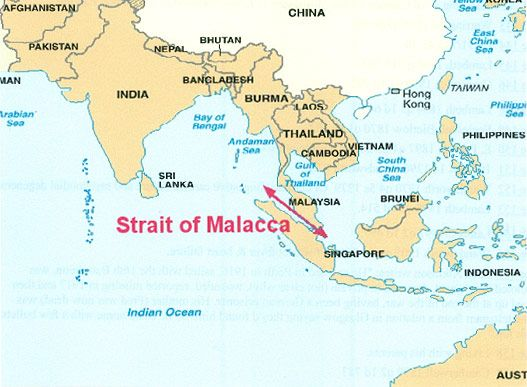 This shows the relation of Malacca to the surrounding area.