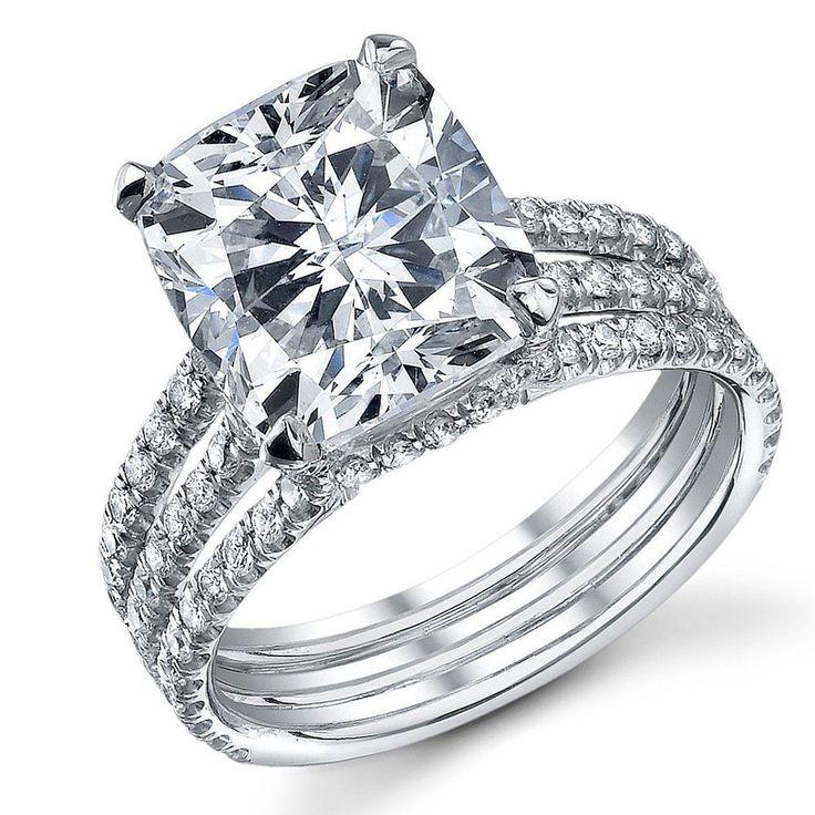 Beautiful 4 00 Carat Cushion Cut Diamond Engagement Ring 18K White Gold