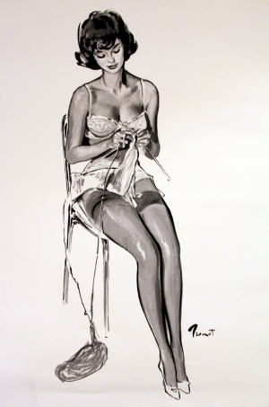 Pin Up Girl Knitting, 1960 - original vintage poster by Pierre Laurent Brenot listed on AntikBar.co.uk