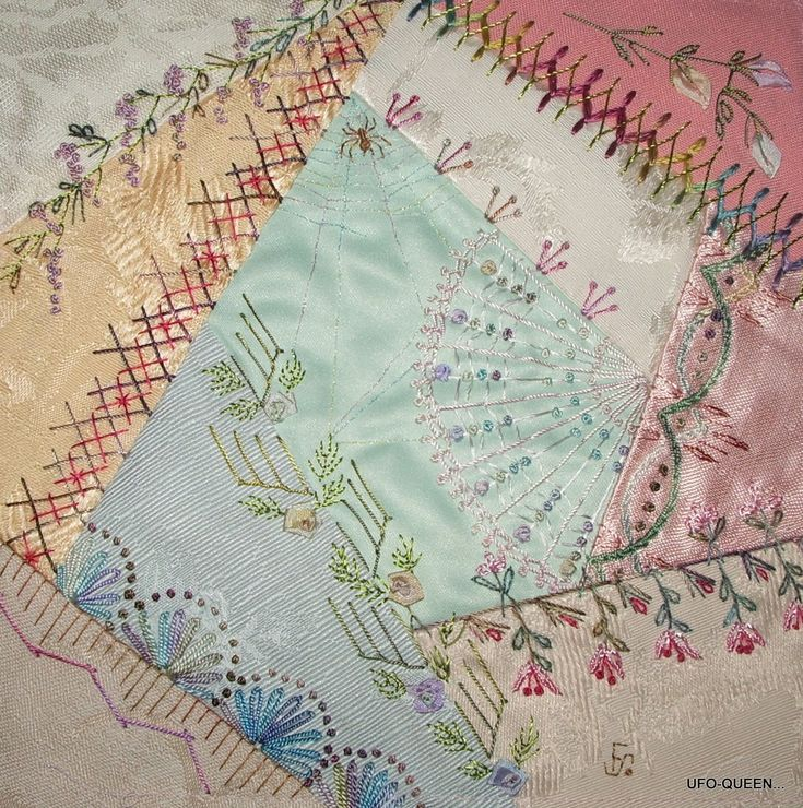 Crazy Quilt Stitches | Close-up Of Some Of The Seam Detail On The Right.... | My Style ...