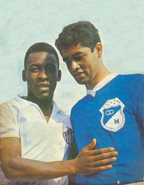 """Pelé y el """"Chalo"""" Gonzalez. #Millonarios vs Santos"""