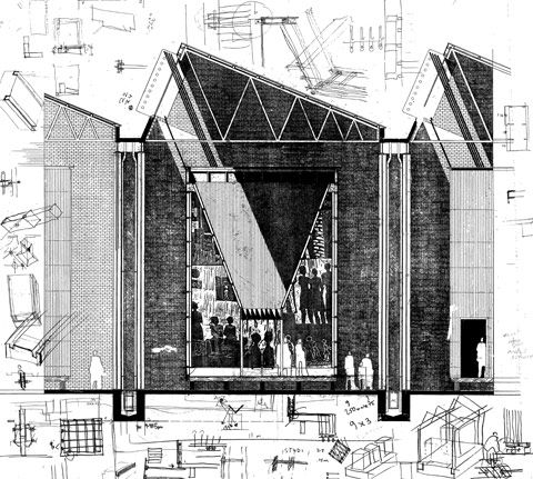 Section sketch for Red Location Museum of Struggle,Port Elizabeth, South Africa. Noero Wolff Architects.