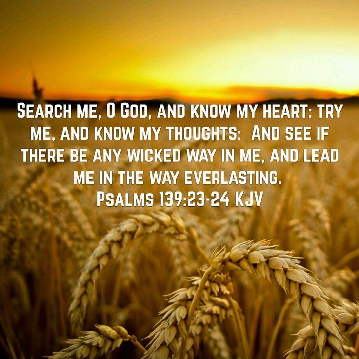 Tutki minua, Jumala, ja tunne minun sydämeni, koettele minua ja tunne minun ajatukseni.  Ja katso: jos minun tieni on vaivaan vievä, niin johdata minut iankaikkiselle tielle. Psalmit 139:23-24 FB38