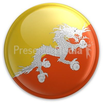 An image of Bhutan's flag on a button. #powerpoint #clipart #illustrations