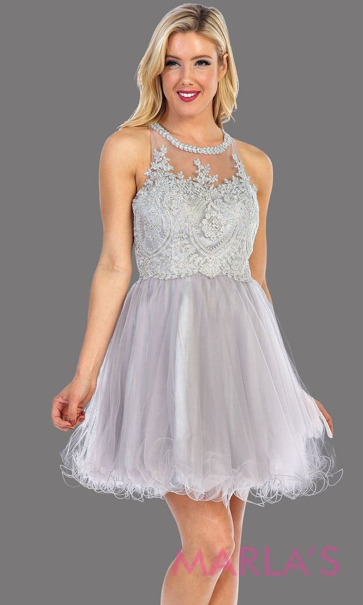 Short Silver Jewel Bodice Dress With Tulle Skirt graduationdress