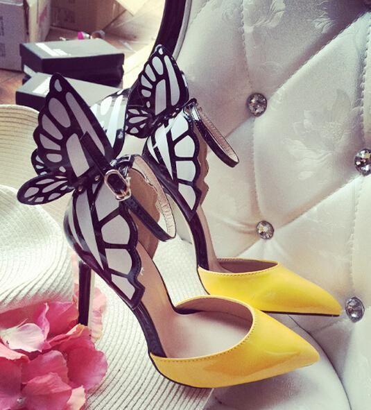 punta tacco alto pompe farfalla partito scarpe fibbia sandali
