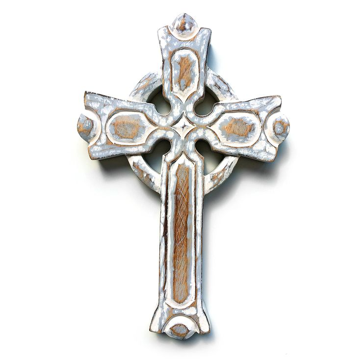 Celtic cross. Hand carved old style looking white wooden cross. Wall hanging. Christianity. Religion. Gift. Wood carving.