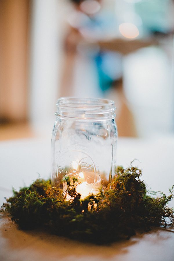 Mason Jar Candle Holder in Moss | photography by http://www.amyarrington.com/ Simply beautiful