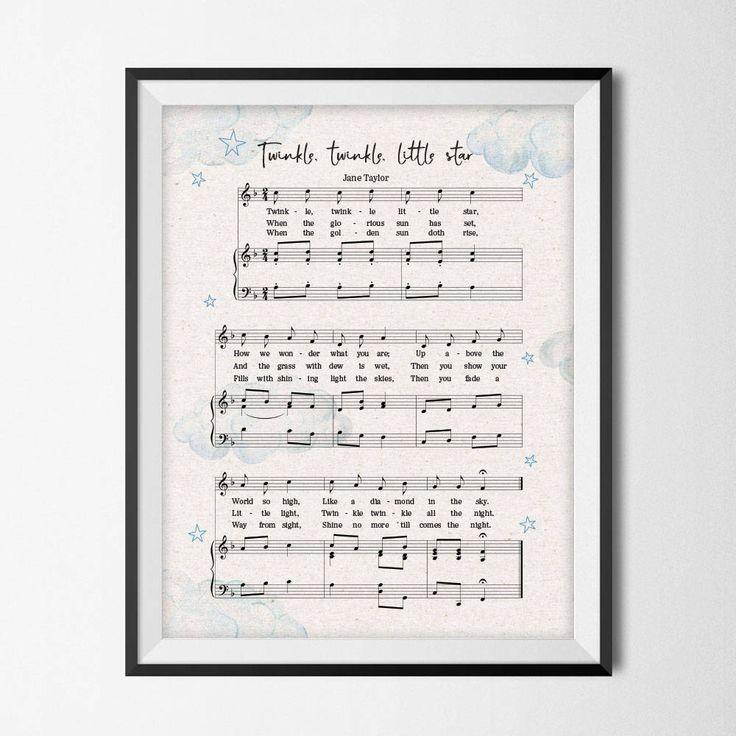 Music Nursery Decor Twinkle Twinkle Little Star Sheet Music,  Printable Digital Download Nursery Art Print. by uprintstore on Etsy https://www.etsy.com/listing/546182928/music-nursery-decor-twinkle-twinkle