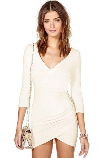 Cream Attractive Girl V-Neck Dress