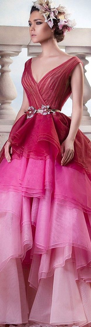 Hanna Touma couture 2015, not a fan of the neckline, but I love the ombre tones of the skirt