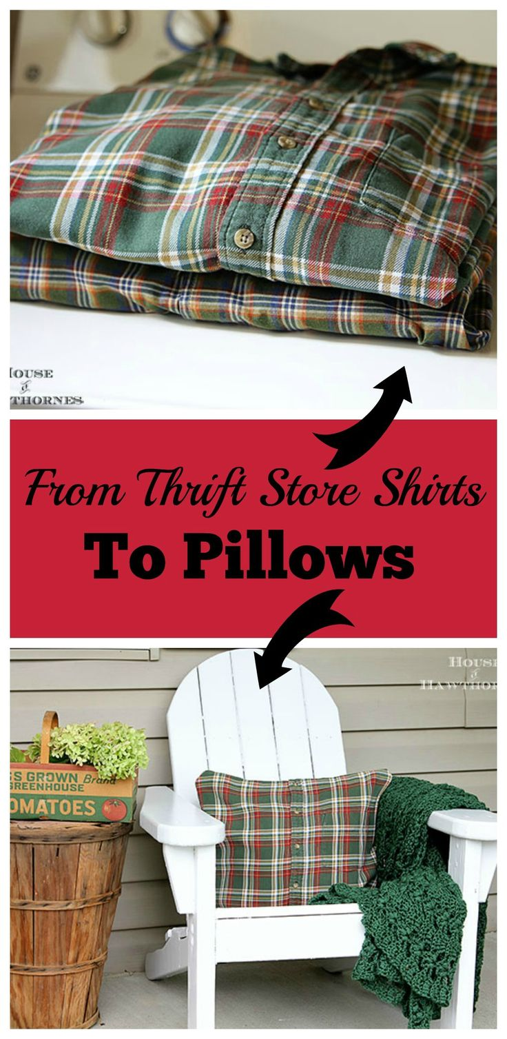 Easy to follow instructions for making DIY no-sew pillows from shirts - quick and simple  - a thrift store diy.  This is a farmhouse look, but you could use colorful shirts for a bohemian home decor look!