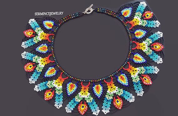 20% Sale -  Beadwork Necklace - Seed bead necklace - multi colour necklace - Beadweaving Necklace - Seed Bead Jewelry