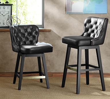 Caldwell Tufted Swivel Barstool Bar Height Black Leather