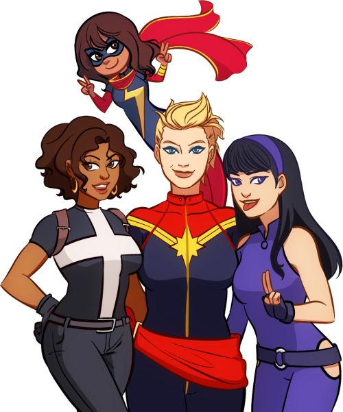 Something I'd punch holes in the sky to see. Helena Bertinelli, Carol Danvers, Kate Bishop and Kamala Khan by gabzilla-z (commissioned for me).