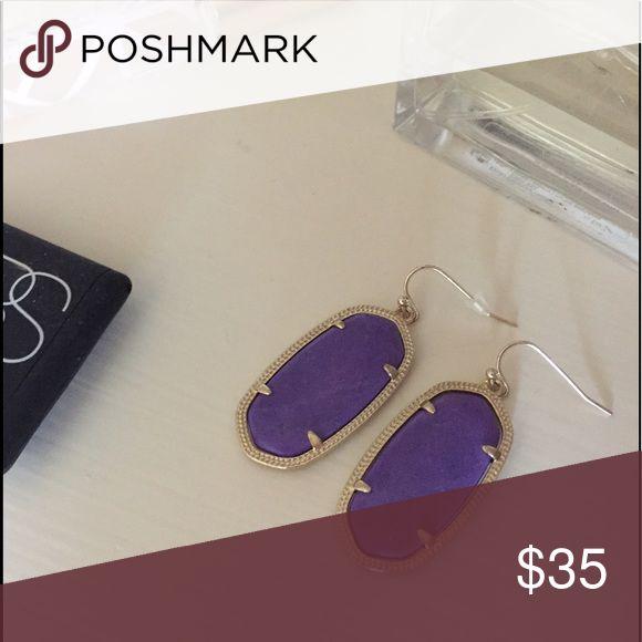 Kendra Scott Elle Earrings Kendra Scott Elle Earrings in purple - only worn once or twice. One plastic back is missing, as shown in the picture. Kendra Scott Jewelry Earrings