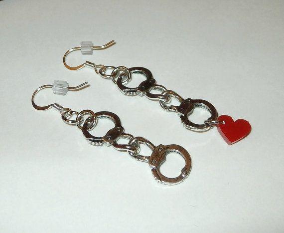 Valentine Earrings Handcuff and Heart Earrings by Studio3B on Etsy