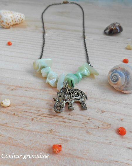 Collier éléphant asiatique porte bonheur et perles vertes : Collier par couleur-grenadine33