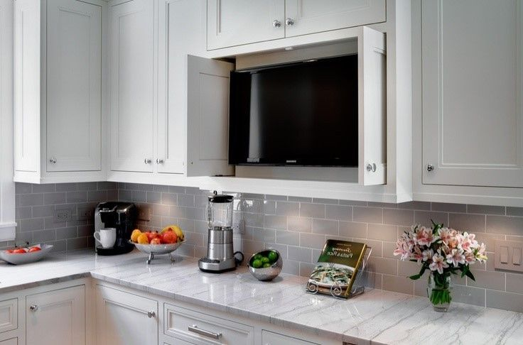 How To Create A Modern Kitchen Tv In Kitchen Kitchen Cabinets Diy Kitchen Cabinets