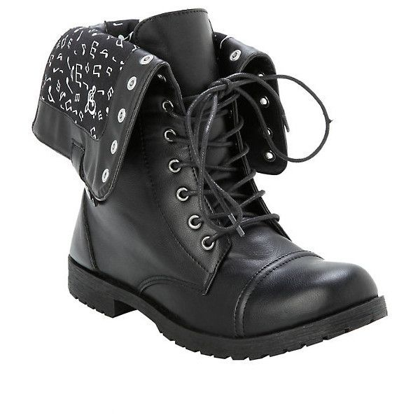 Music Note Combat Boots Hot Topic (£26) ❤ liked on Polyvore featuring shoes, boots, lace up combat boots, combat booties, military combat boots, black fold over boots and black boots
