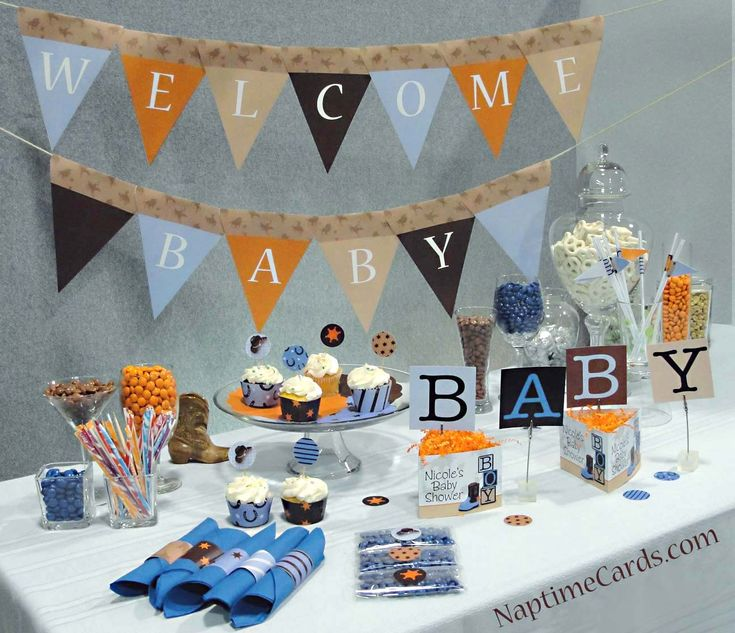 Cowboy Baby Shower Decorations Includes A Printable Pennant Banner,  Printable Cupcake Wrappers, Straw Flags