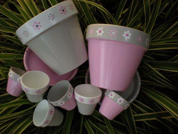 Baby Shower Favors Painted Flower Pots by HappyMooseGardenArt