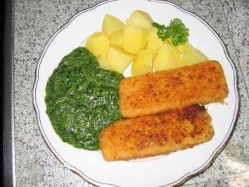 Hauptgericht: Fischstäbchen mit Spinat und Salzkartoffel - Rezept