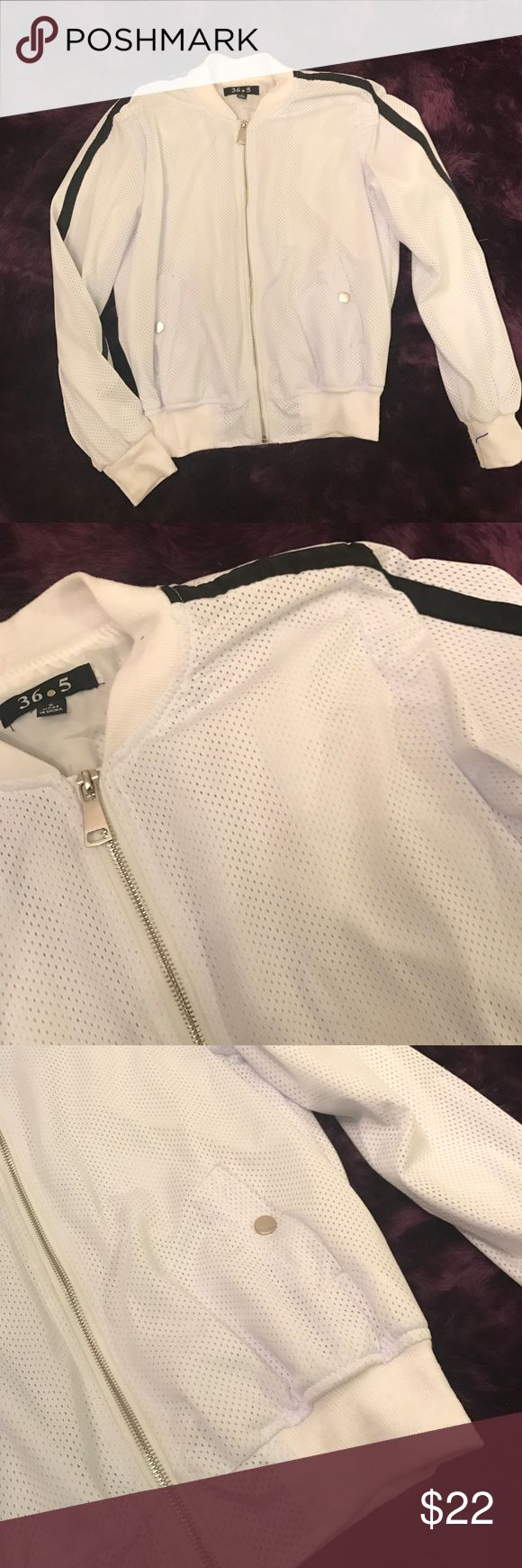 Women's white mesh jacket Very light white mesh zip up jacket with black stripe along side of each sleeve, used Jackets & Coats