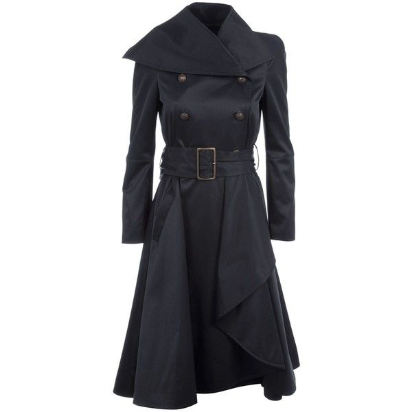 MCQ BY ALEXANDER MCQUEEN QK06401 BLACK POLYESTER/COTTON/ELASTANE 46 ($785) ❤ liked on Polyvore featuring outerwear, coats, jackets, dresses, casacos, coats & jackets, women, waterfall trench coat, waterfall coat and trench coat