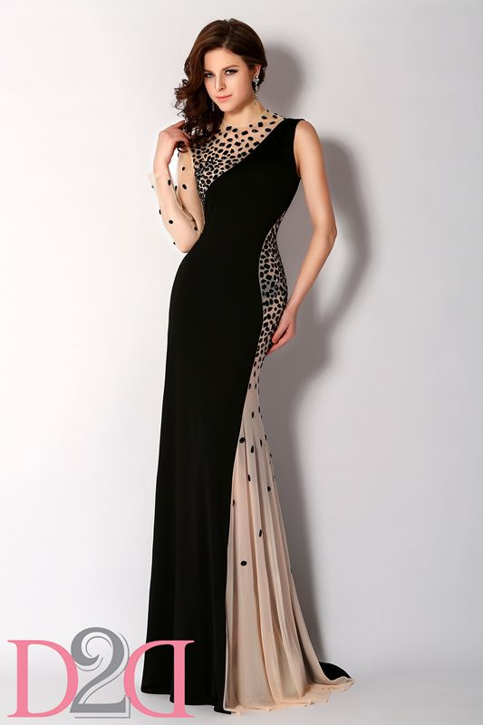 Sheath Scoop neck tulle and Jersey sweep train with translucent beading Evening Gown