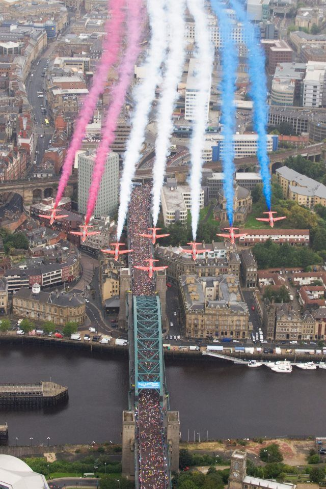RAF Red Arrows. Red, white  blue. Spectactular