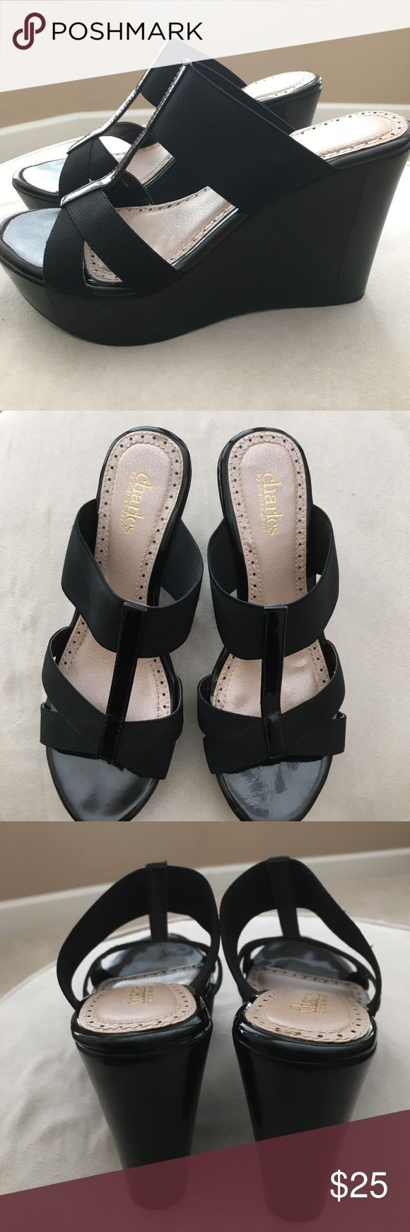 """Charles by Charles David Riddle Wedge Sandals Practically new, barely worn Charles by Charles David black """"Riddle"""" wedge sandals.  Size 7 Charles David Shoes Wedges"""
