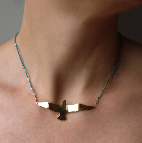 24 k Gold Filled Seagull with Turquoise by sophiesimone on Etsy, $122.00