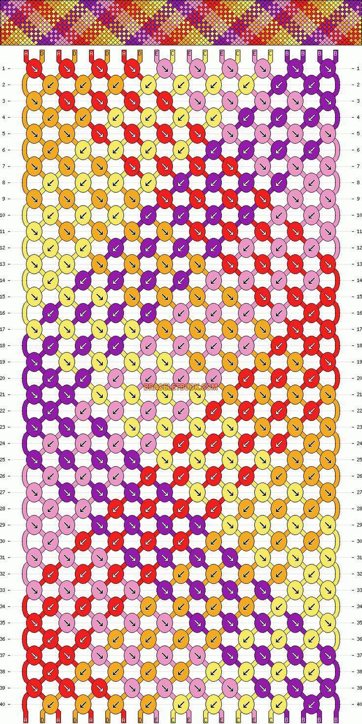 friendship bracelet patterns | Patterns - Normal - Friendship Bracelet Pattern #1672 20 strings 5 colors