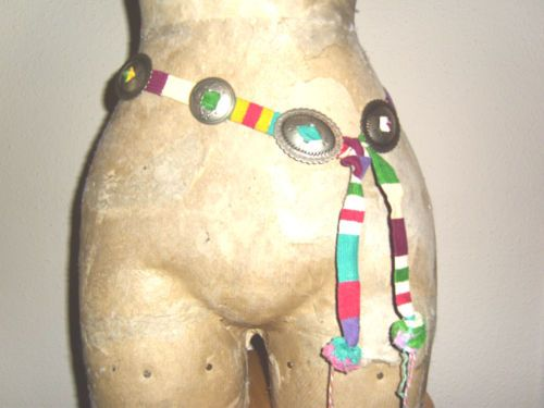 Navajo Nickel Silver stamped shapes with Guatemalan woven belt