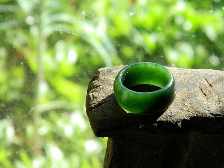 Dark Pounamu Ring.  Carved by Aaron Brown  #pounamu #ring